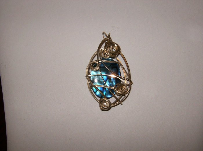 sterling silver wire wrapped blue puau shell w/ silver chain