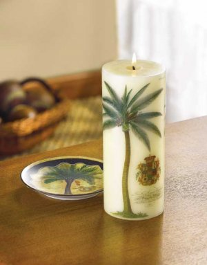 PALM TREE CANDLE & HOLDER