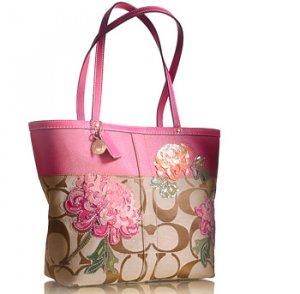 Coach signature floral tote