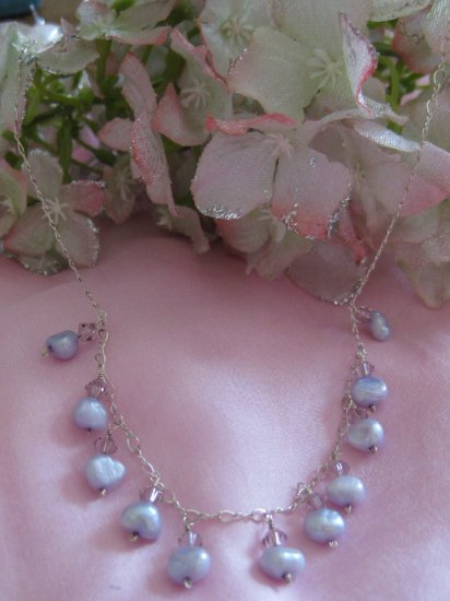 Lavender Lovers Flirt style handmade crystal and pearl necklace