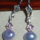 Lavender pearl & crystal earrings