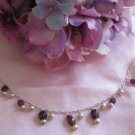 """Garnet and pearl """"""""flirt"""""""" style Necklace"""