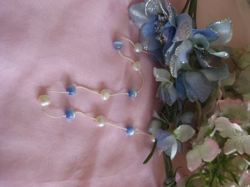 Simply casual blue cat eye and white potato pearl necklace