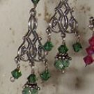 Green Celtic chandelier earrings