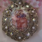large painted center Victorian type style broach