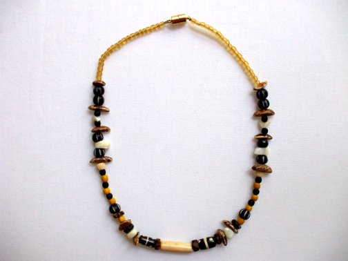 Multicolored Black White Yellow Beige Necklace