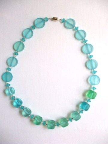 Turquoise Blue Green Acrylic Necklace