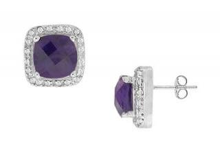 Amethyst and Diamond Earrings : 14K White Gold - 2.50 CT TGW-5340630 - (stock:100)