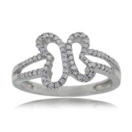 Butterfly Diamond Ring 14K White Gold Ladies New Band -7434134