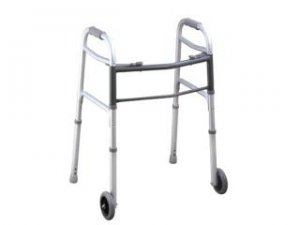 "Aluminum Two Button Folding Walker W/ 5"" Wheels-9317575 - (stock:50)"