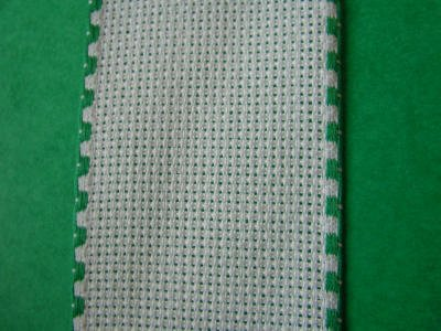 White Aida Band with green edge 5 cm, 2 inches wide