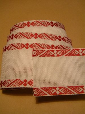 White Aida Band with red edge (geometrical pattern) 7.5 cm, 3 inches wide