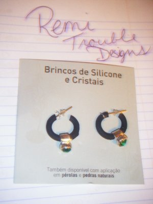 silicone & crystal earrings
