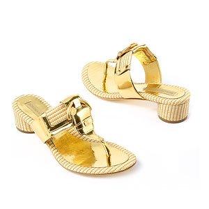 Teri Straw & Leather Thong Sandal