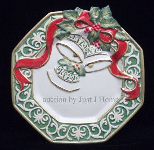 Fitz & Floyd Christmas Bells Canape Plate