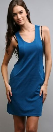 Teal Side Out Loop Back Pocketed Tank Dress Sz L NEW