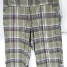 NY Collection Green Plaid Bermuda Shorts Capris 6 NEW