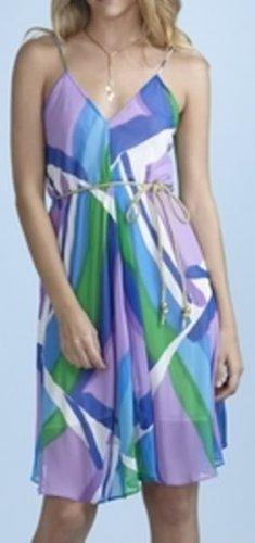 R Jean Flowy Dress with Tie Ocean Print M 6 8 NEW $165