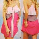 Very J Pink & Gray Layered Romantic Chiffon Tank Dress Juniors Sizes S M L NEW
