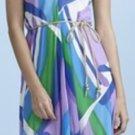 R Jean Flowy Dress with Tie Ocean Print Size M 6 8 NEW $165