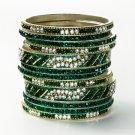 Chamak by Priya Kakkar Set of 12 Green & White Crystal bangles NEW $180
