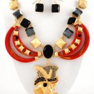 NEW Chunky Coral Skull Pendant Rhinestone Necklace & Earring Set