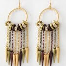 NEW Tri-tone Spike Charm, Bead & Rhinestone Chandelier Dangle Earrings 4 3/8""