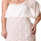 Coutori Junior's Pink & White One Shoulder Textured Mesh Mini Dress S M L