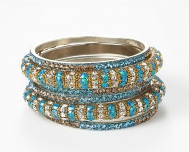 Chamak by Priya Kakkar Set Of 6 Blue & Gold Crystal Bangles NEW MSRP $102
