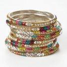 Chamak by Priya Kakkar Set Of 8 Multicolor Crystal Bangles NEW MSRP $115