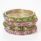 Chamak by Priya Kakkar Set of 4 Pink & Green Crystal Bangles NEW MSRP $112