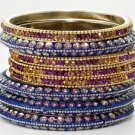 Chamak by Priya Kakkar Set of 8 Purple & Blue Bangles NEW MSRP $138 GORGEOUS