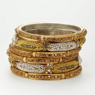 Chamak by Priya Kakkar Set Of 6 Crystal & Beaded Chain Bangles NEW MSRP $128