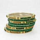 Chamak by Priya Kakkar Set of 8 Gold & Green Crystal Bangles NEW MSRP $90 WOW!!!