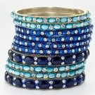 Chamak by Priya Kakkar Set of 10 Blue Crystal Bangles NEW MSRP $185 GORGEOUS