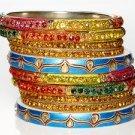 Chamak by Priya Kakkar Set of 10 Party Bangles Topaz Crystal NEW $155 GORGEOUS