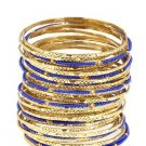 Amrita Singh Eileen Blue & Gold 33 Piece Bangle Set Size 8 NEW $100 BBM679