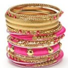 Amrita Singh Richa Fuschia 23 Piece Bangle Set Lot Size 8 NEW $150 KB360 18KGP
