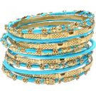 Amrita Singh Jaana Turquoise 12 Piece Bangle Set Lot Size 8 NEW MSRP $100 KB364