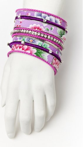 CARA COUTURE Purple Flower 13 Piece Bangle Set NEW MSRP $70