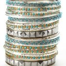 CARA COUTURE Bead & Crystal 27 Piece Bangle Set Turquoise, Silver & Gold NEW $70