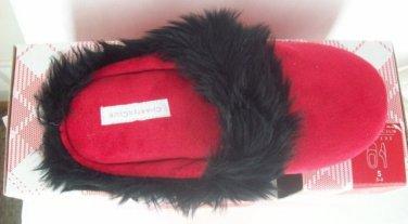 Macy's Charter Club Red & Black Fur Trim Plush Women's Slippers Sz S 5 6 NEW