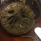 Jessica Simpson Katie Green Olive Snakeskin Round Crossbody Bag Purse NEW $58