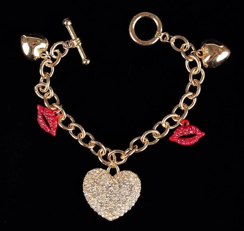 NEW Gold Tone Rhinestone Heart & Red Lips Charm Bracelet