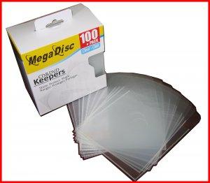 MEGADISC CD DVD Disc Keeper Clear 100 PK (SAME MEMOREX QUALITY) Free Shipping