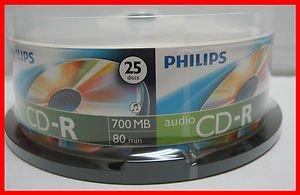 25 Philips Digital Audio CD-R DA Music Recordable Blank CD Media Disk Free Ship