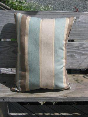 Wide striped pale blue, beige, brown pillow