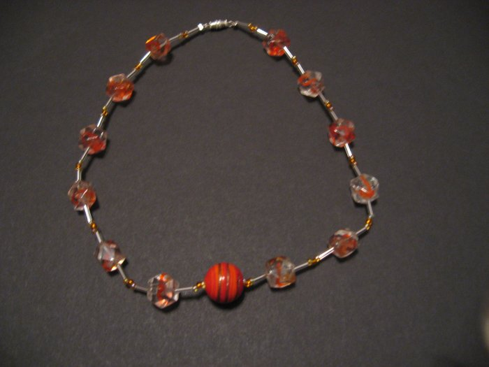 Orange and clear necklace