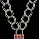 16 Inch Thich Chain Rhinestone Lock - Red