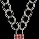 18 Inch Thich Chain Rhinestone Lock - Red